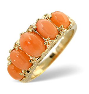 Coral Ring Coral 9K Yellow Gold