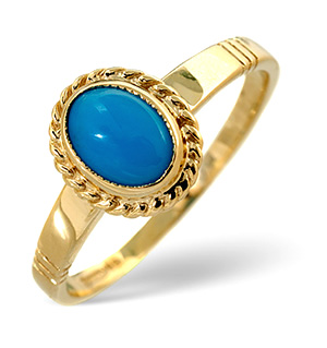 Turquoise Ring Turqouise 9K Yellow Gold