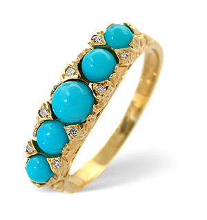 Turquoise Ring 0.02CT Diamond 9K Yellow Gold