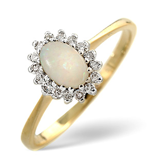 18K Gold Diamond and Opal Ring 0.08ct