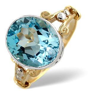 Blue Topaz Ring Blue topaz 9K Yellow Gold