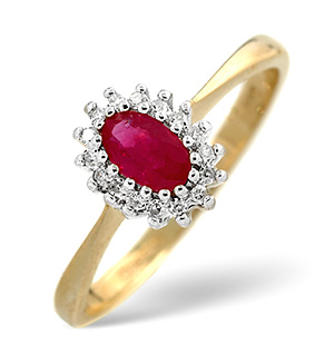 18K Gold Diamond and Ruby Ring 0.05ct