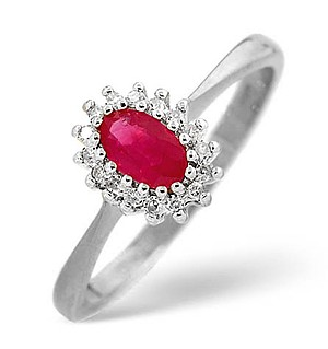 18K White Gold Diamond and Ruby Ring 0.05ct
