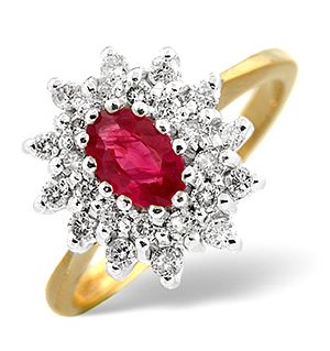 18K Gold Diamond and Ruby Ring 0.36ct