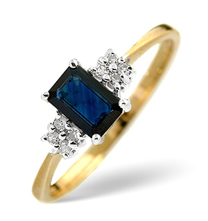 18K Gold Diamond and Sapphire Ring 0.06ct