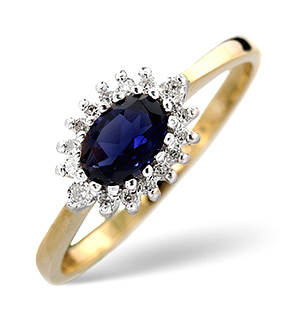 18K Gold Diamond and Kanchan Sapphire Ring 0.14ct