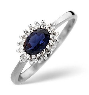 18K White Gold Diamond and Kanchan Sapphire Ring 0.14ct