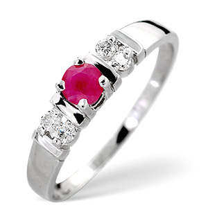 18K White Gold Diamond and Ruby Ring 0.10ct