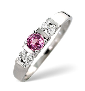 18K White Gold Diamond and Pink Sapphire Ring 0.10ct