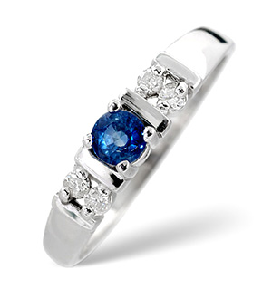 18K White Gold Diamond and Kanchan Sapphire Ring 0.10ct
