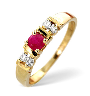 18K Gold Diamond and Ruby Ring 0.10ct