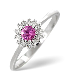 18K White Gold Diamond and Pink Sapphire Ring 0.07ct