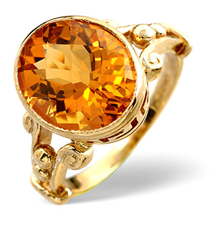 Citrine Ring Golden Citrine 9K Yellow Gold