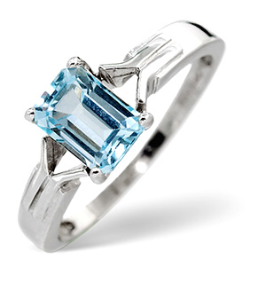 Blue Topaz Ring Sky Blue topaz 9K White Gold