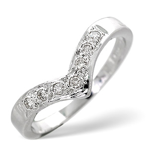 Wishbone Ring 0.11CT Diamond 9K White Gold