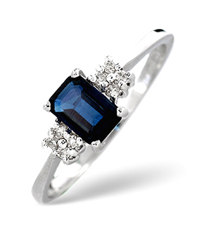 18K White Gold Diamond and Sapphire Ring 0.06ct