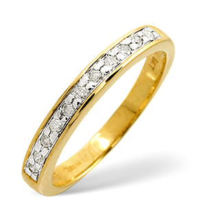Half Eternity Ring 0.11CT Diamond 9K Yellow Gold