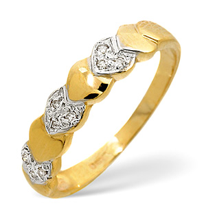 9K Gold Diamond Design Ring 0.03CT