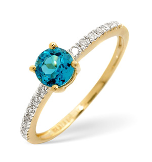 Blue Topaz And 0.09CT Diamond Ring 9K Yellow Gold