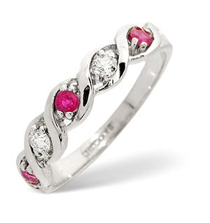 18K White Gold Diamond and Ruby Ring 0.08ct
