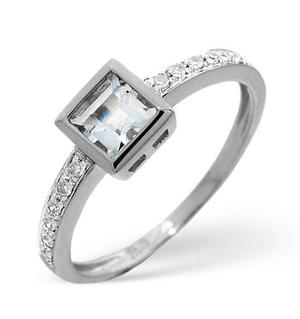 9K White Gold Diamond and Aqua Marine Ring 0.06ct