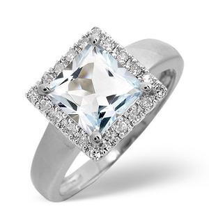 9K White Gold Diamond and Aqua Marine Ring 0.17ct