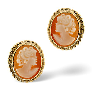 Cameo Earrings Cameo 9K Yellow Gold