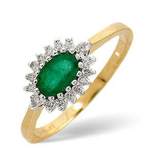 18K Gold Diamond and Emerald Ring 0.14ct