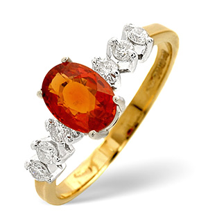 9K Gold Orange Sapphire Ring with Shoulder Diamonds