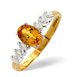 9K Gold Yellow Sapphire Ring with Shoulder Diamonds