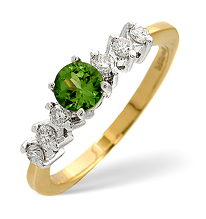 9K Gold Tsavorite Ring with Shoulder Diamonds