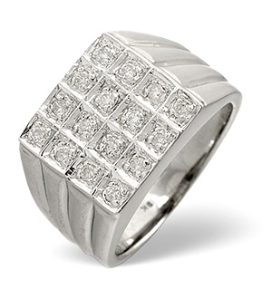 Mens Ring 0.25CT Diamond 9K White Gold