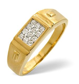 9K Gold Diamond Gents Ring 0.25CT