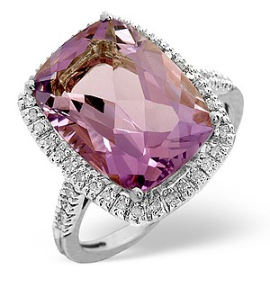 9K White Gold Diamond and Amethyst Ring 0.22ct