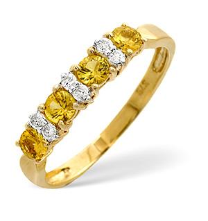 9K Gold Diamond and Yellow Sapphire Ring