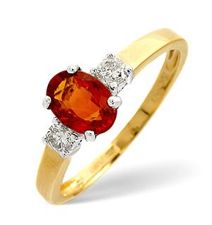 18K Gold Diamond Orange Sapphire Ring 0.20ct