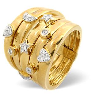 Big Fancy Ring 0.20CT Diamond 9K Yellow Gold