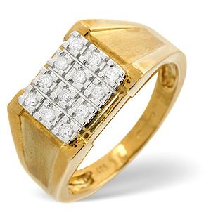 Mens Ring 0.23CT Diamond 9K Yellow Gold