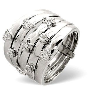 Big Fancy Ring 0.20CT Diamond 9K White Gold