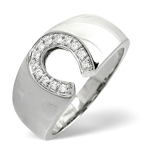 Mens Ring 0.15CT Diamond 18K White Gold