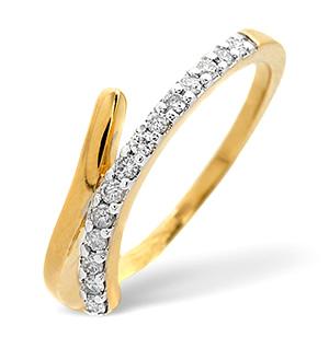 Cross-Over Ring 0.15CT Diamond 9K Yellow Gold