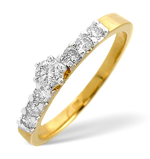 Solitaire With Shoulders Ring 0.33CT Diamond 9K Yellow Gold