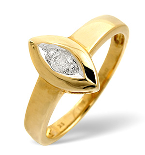 Solitaire Ring 0.11CT Diamond 9K Yellow Gold