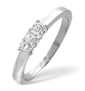 Trilogy Ring 0.26CT Diamond 9K White Gold