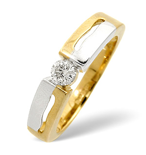 9K Gold Two Tone Ring 0.20CT