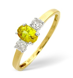 18K Gold Diamond Yellow Sapphire Ring 0.20ct