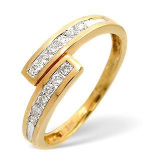 Cross-Over Ring 0.20CT Diamond 9K Yellow Gold