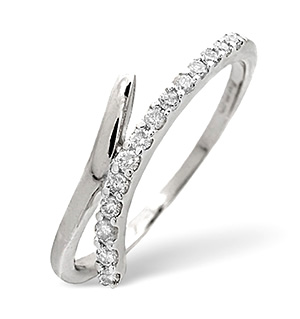 Cross-Over Ring 0.15CT Diamond 9K White Gold