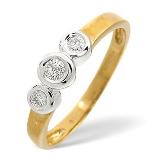 Trilogy Ring 0.16CT Diamond 9K Yellow Gold