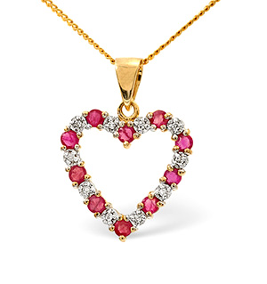 Ruby 0.68CT And Diamond 18K Yellow Gold Pendant